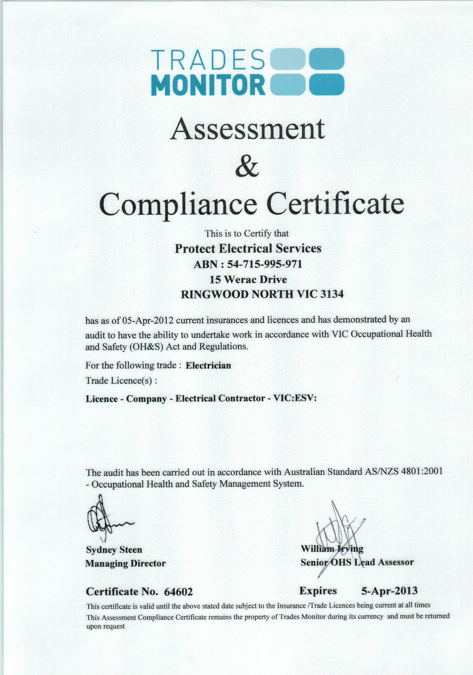 Compliance Certificate Protect Electrical Services 0412 301 275